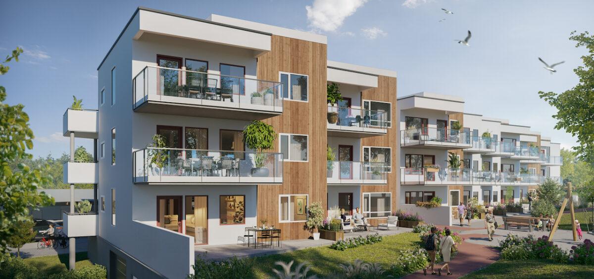 FM Strand har signert avtale med OBOS om byggingen av leilighetsprosjektet Solstrandvegen på OS. (Ill. ABO Plan og Arkitektur)